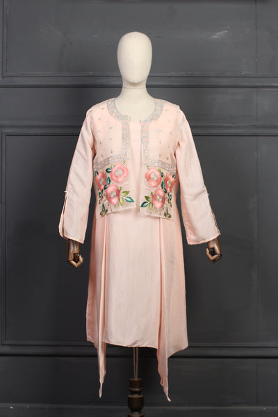 Raw Silk Shirt With Embroidered Organza Jacket - 1507 - leftover.pk