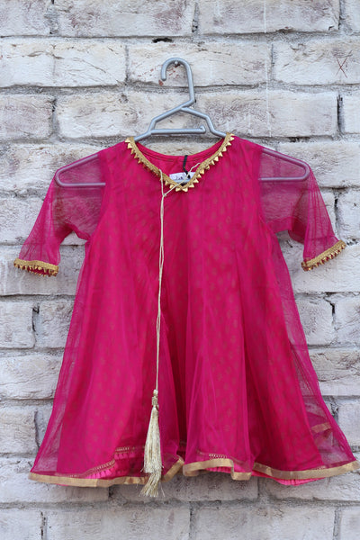 Pink Cotton Pishwas with Linen Inner - 2107 - leftover.pk