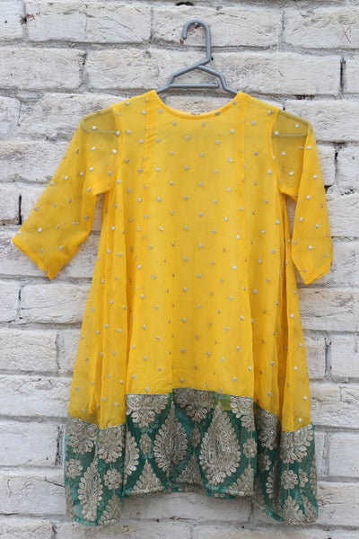 Yellow Chiffon Panel Shirt with Fancy Net - 2107 - leftover.pk