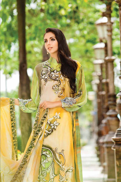 2 Pc (Unstitched) -Yellow Printed Chiffon + Chiffon Dupatta - leftover.pk