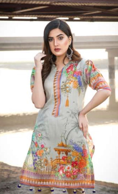 (C02) Unstitched - Sky Digital Printed LAWN Shirt (BRK-0905-SP-006) - leftover.pk