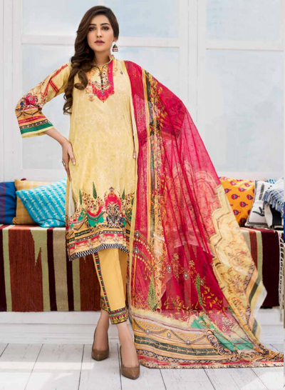 3pc- Ready To Wear Dastak-1881 - leftover.pk