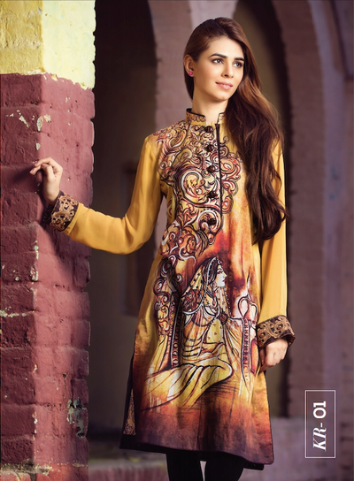 Yellow Digital Print + Embroidered Pure Chiffon Ready To Wear Kurta (RG-PS-001) - leftover.pk