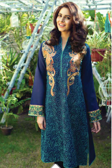 Sea Green / Midnight Blue Embroidered Ready To Wear Kurta (RG-E-001) - leftover.pk