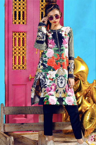 (A02) Digital Printed Unstitched Lawn Kurti (1005-DPK-01) - leftover.pk