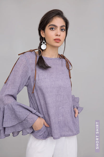 Purple Ruffel Shirt short Length in 100% Cotton - leftover.pk