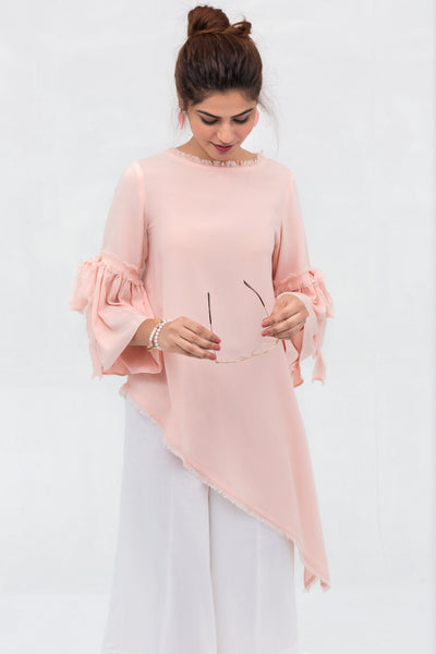 Pink Side Down Long Shirt In Crepe Fabric With Short Length Top - leftover.pk