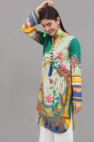 (195-KR-106) Emerald Lillies - 1 pc PRET (Stitched) - Digital Printed Lawn Shirt - leftover.pk