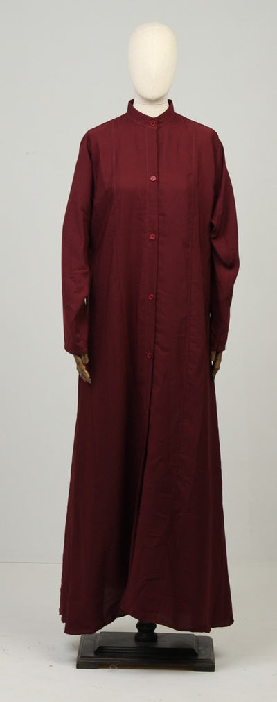 Dark Red Ready to Wear Abaya with Scarf - leftover.pk