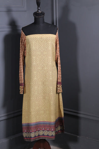 Light Yellow Digital Printed Lawn Ready To Wear Kurta - leftover.pk