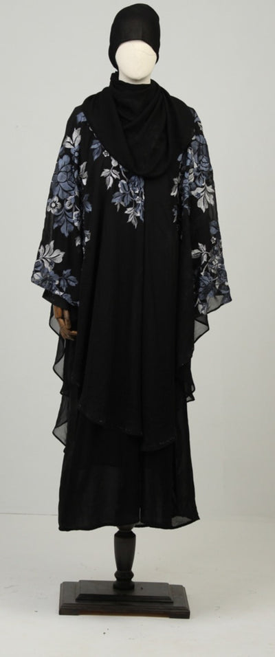 Black & White Ready to Wear Abaya with Scarf - leftover.pk