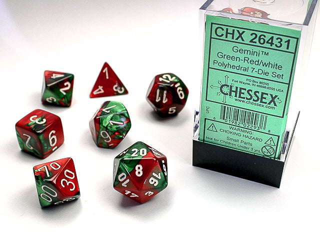 7pc Gemini Green-Red w/ White Polyhedral Set - CHX26431 | All Aboard Games