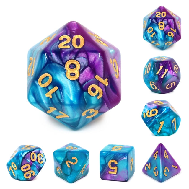 7pc Blend Blue-Bright Purple w/ Gold - HDB12 | All Aboard Games