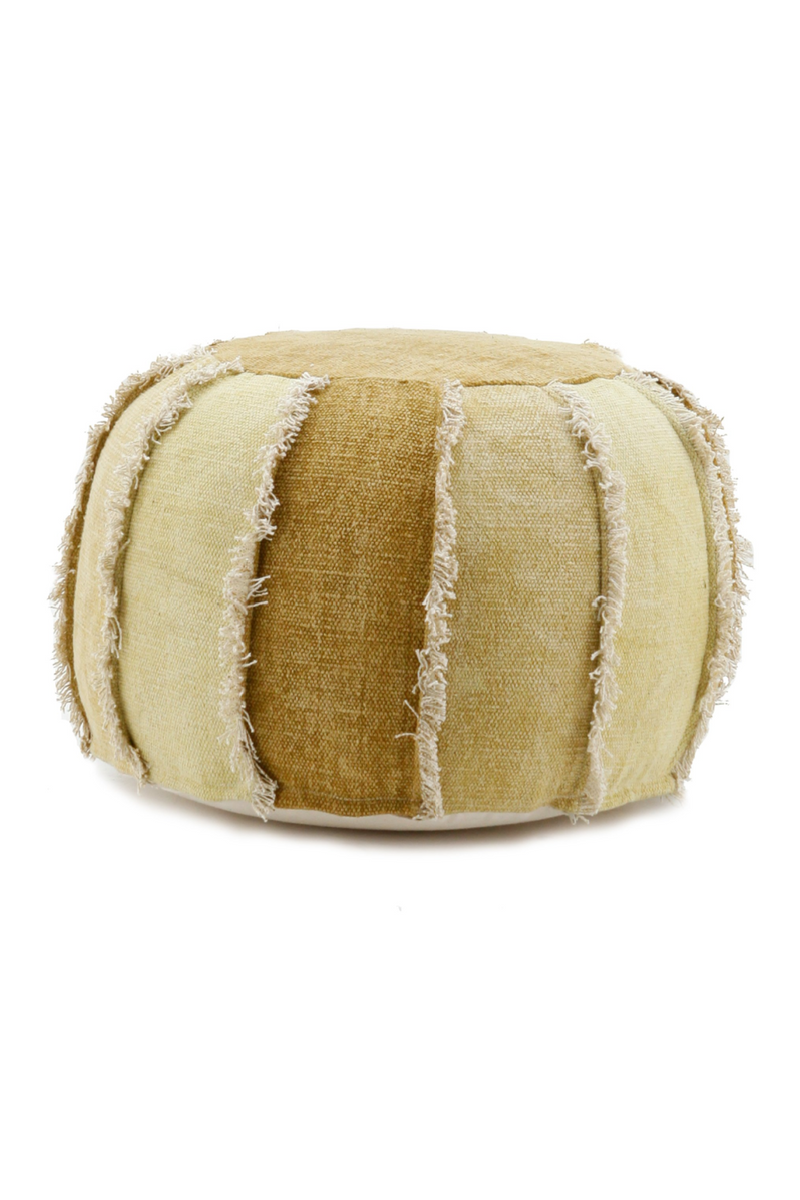 Round Yellow Cotton Canvas Quilted Pouf | By-Boo Mono | DutchFurniture.com