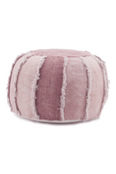 Round Pink Cotton Canvas Quilted Pouf | By-Boo Mono | DutchFurniture.com