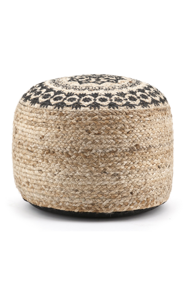 Round Braided Jute Pouf | By-Boo Himalaya | DutchFurniture.com