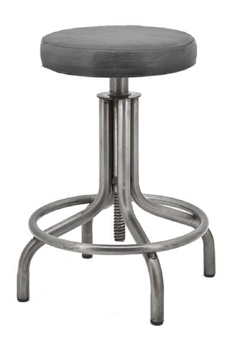 Black Leather Swivel Accent Stool | By-Boo Spindoctor | DutchFurniture.com