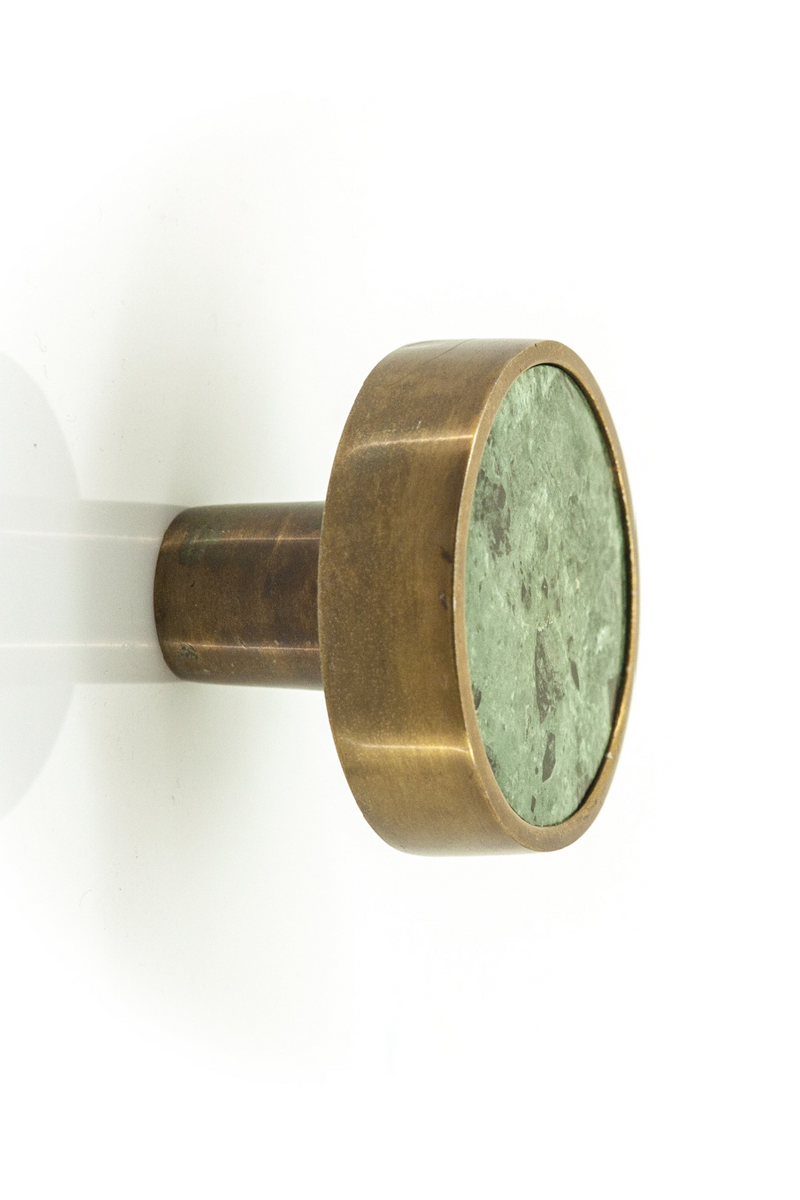 Large Brass & Green Marble Knobs (4) | By Boo Benjamin | DutchFurniture.com