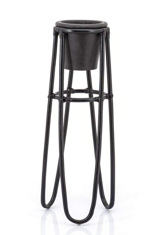 Black Rattan Plant Stand (L) | By-Boo Terra | DutchFurniture.com