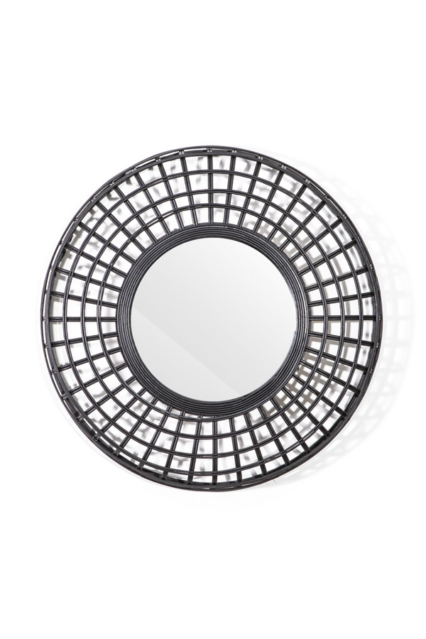 Black Woven Rattan Mirror (S) | By-Boo Oracle | DutchFurniture.com
