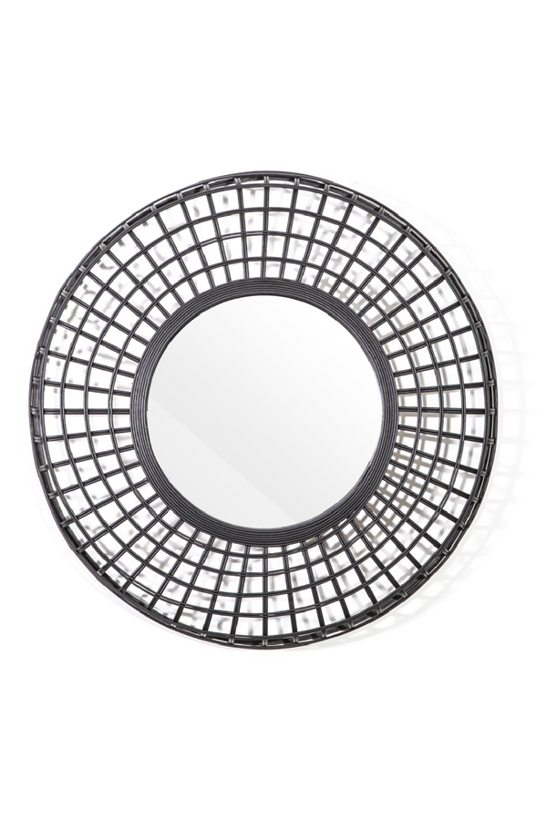 Rounded Black Rattan Mirror (L) | By-Boo Oracle | DutchFurniture.com