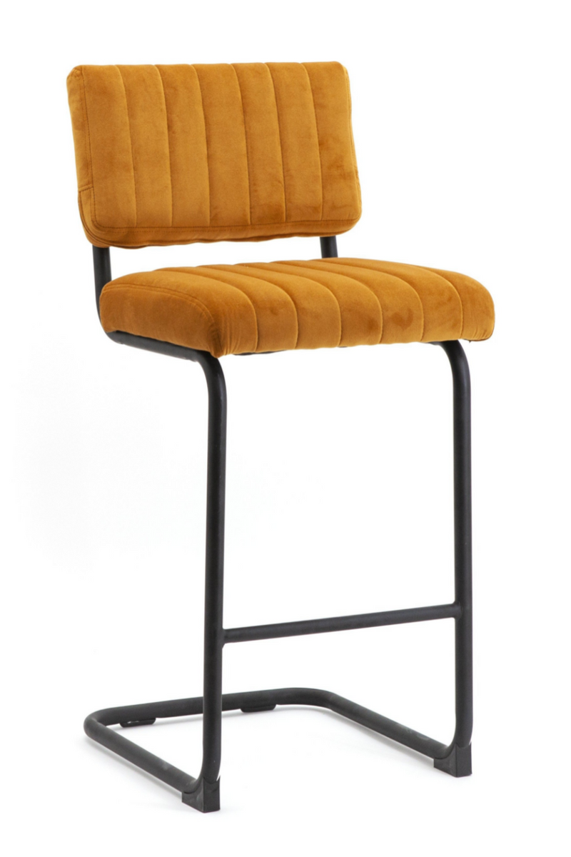 Orange Velvet Counter Stools (2) | By-Boo Operator | DutchFurniture.com