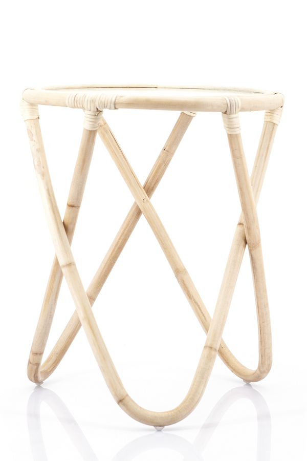 Rattan Glass Top Side Table | By-Boo Boho | DutchFurniture.com