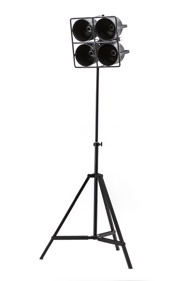 Black Metal 4-Light Stage Floor Lamp - S | By-Boo Minack | DutchFurniture.com