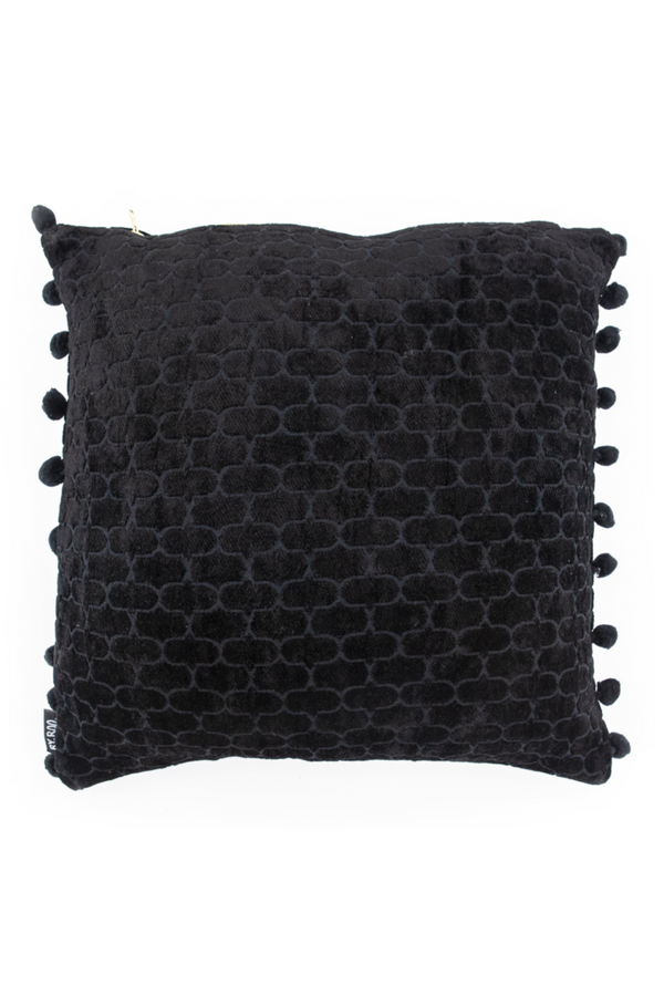 Square Black Viscose Throw Pillows (2) | By Boo Mercy | DutchFurniture.com