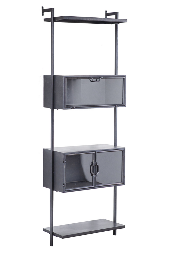 Black Metal Industrial Wall Mounted Cabinet - 1 | By-Boo Ventana | DutchFurniture.com