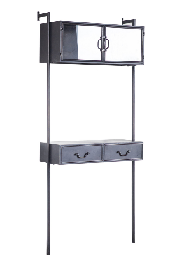 Black Metal Industrial Wall Mounted Cabinet - 2 | By-Boo Ventana | DutchFurniture.com