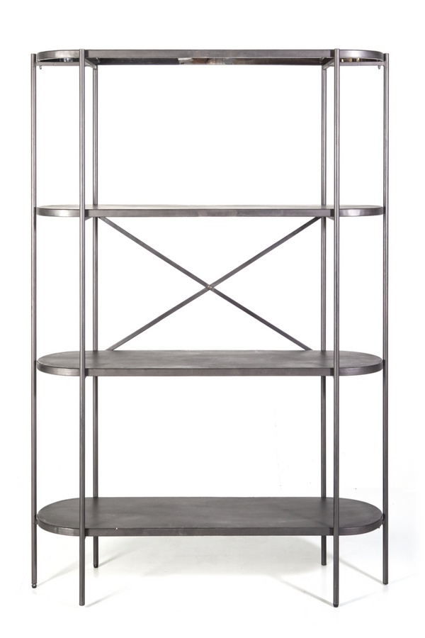 Silver Metal Four Shelf Bookcase | By Boo Burly | DutchFurniture.com