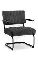 Dark Gray Velvet Lounge Chair | By-Boo Operator | DutchFurniture.com