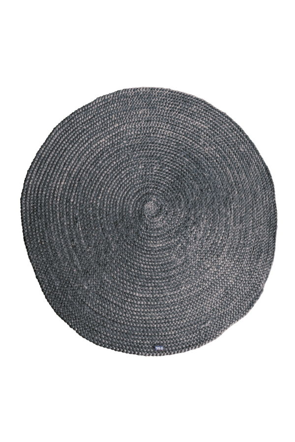 Round Gray Natural Fiber Carpet (L) | By-Boo Jute | DutchFurniture.com