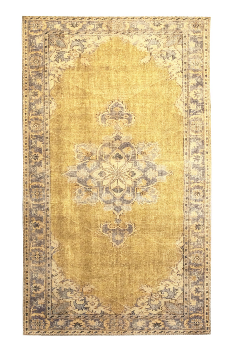 "Yellow Vintage Floral Area Rug 6'5"" X 9'5"" 