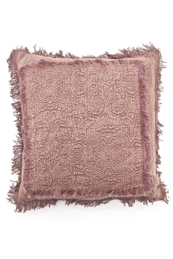 Pink Floral Fringe Throw Pillows (2) | By-Boo Floret | DutchFurniture.com