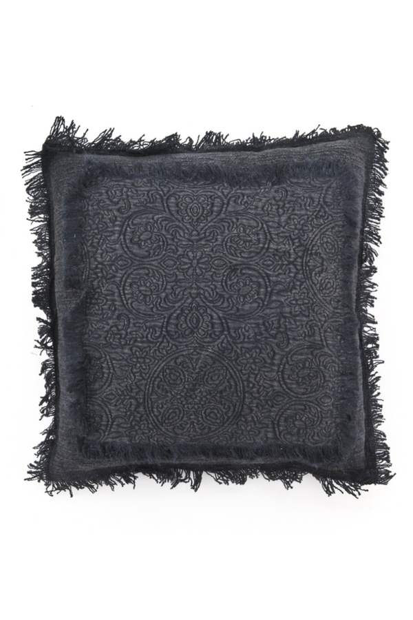 Black Floral Fringe Throw Pillows (2) | By-Boo Floret | DutchFurniture.com