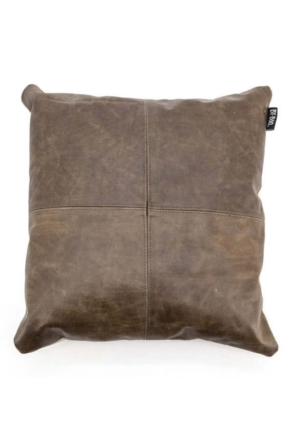 Square Brown Leather Pillows (2) | By Boo Check | DutchFurniture.com