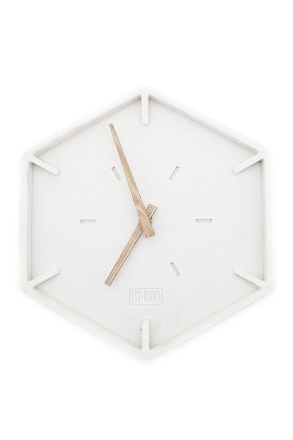 White Hexagon Wall Clock | By-Boo Justin Time | DutchFurniture.com