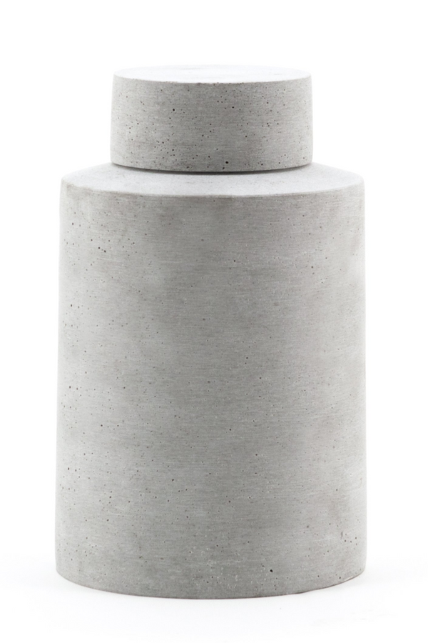 Gray Cylindrical Stone Jar Vase - L | By-Boo Ming | DutchFurniture.com