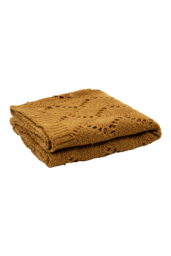 Mustard Knitted Throw Blanket | BePureHome Sense | DutchFurniture.com