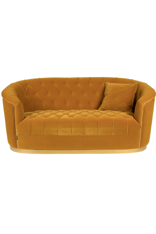 Curved Tufted Ochre Velvet Sofa | Bold Monkey Too Pretty To Sit On | DutchFurniture.com