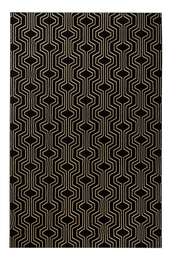 "Black Geometric Area Rug 6""5' X 10"" 