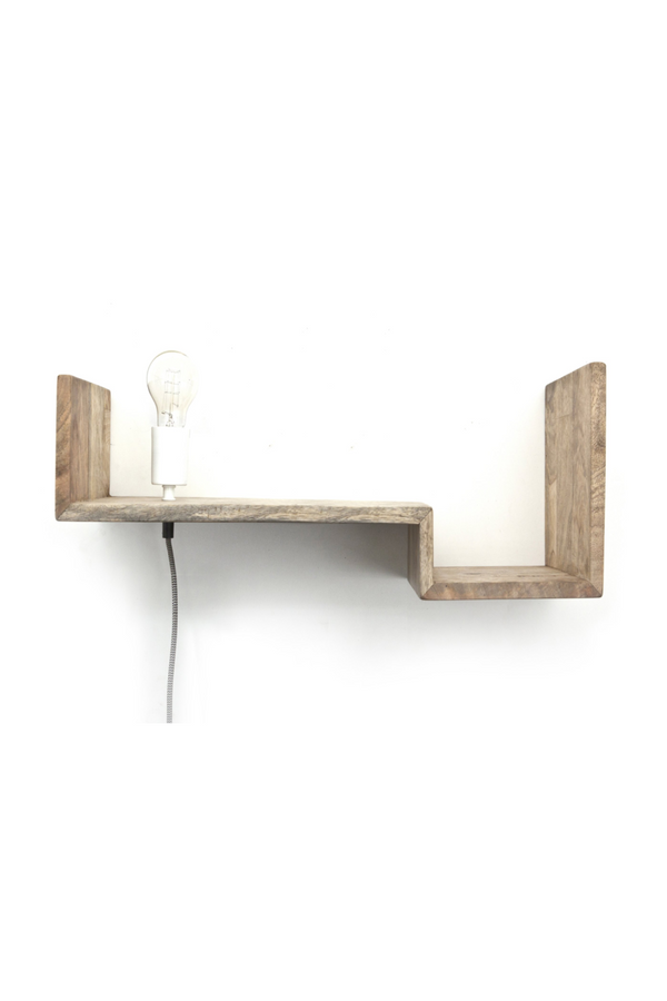 Natural Wood Wall Shelf & Light (L) | By-Boo Top Shelf | DutchFurniture.com