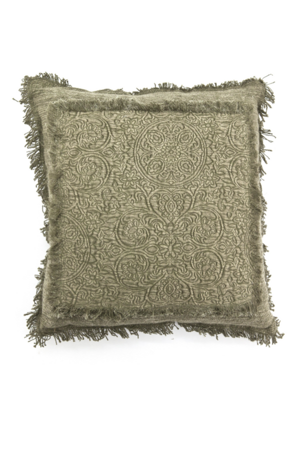 Green Floral Fringe Throw Pillows (2) | By-Boo Floret | DutchFurniture.com