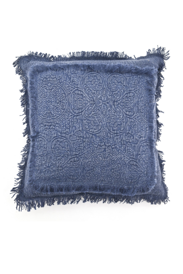 Blue Floral Fringe Throw Pillows (2) | By-Boo Floret | DutchFurniture.com