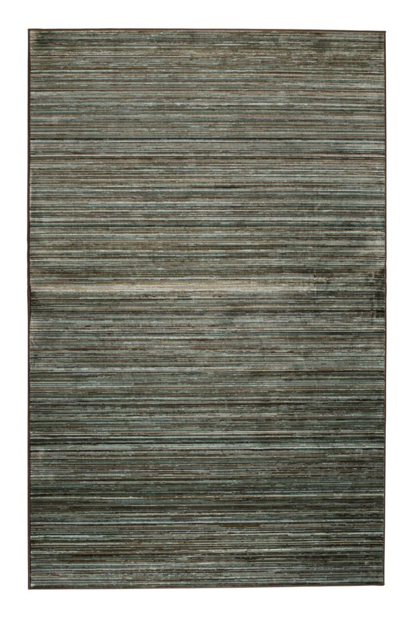 "Green Striped Area Rug 5'5"" x 8' 