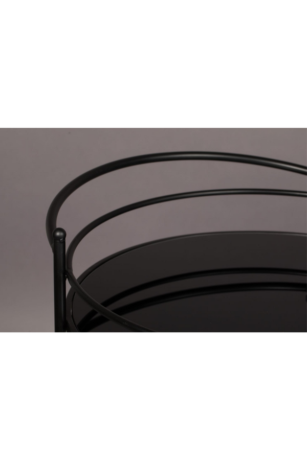 Black Round Wheeled Trolley | Dutchbone Solos l DutchFurniture.com