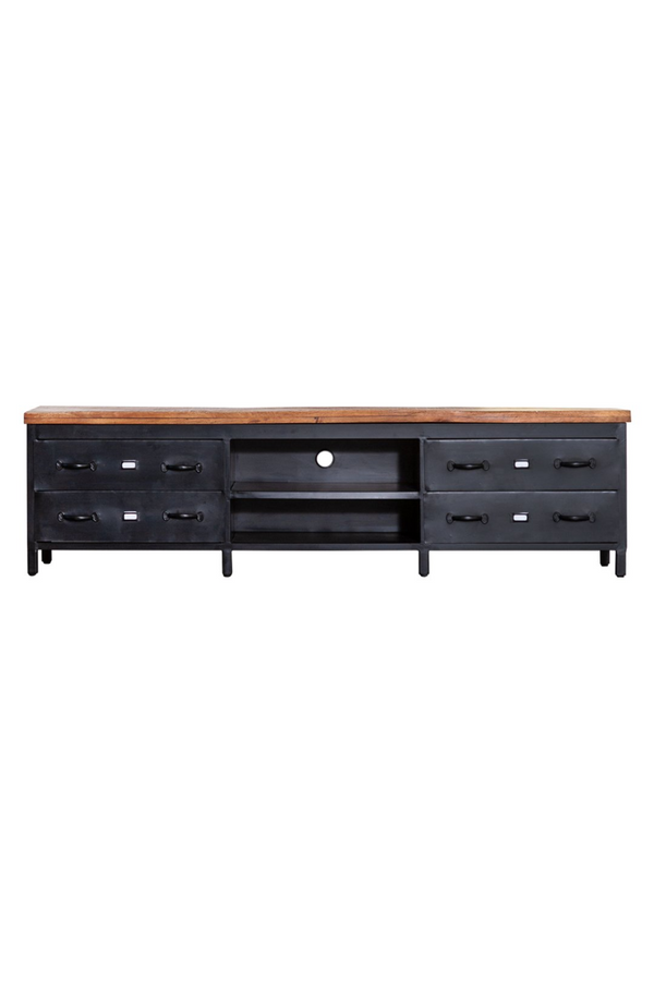 Black Industrial Media Unit L | Eleonora Industrieel | dutchfurniture.com
