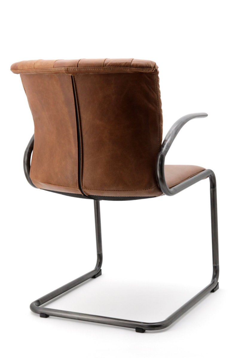 Cognac Leather Dining Armchair | Eleonora Desmond | dutchfurniture.com
